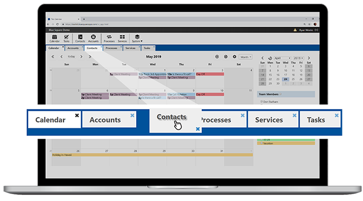 Innovative Tab System. Open up multiple tabs to view multiple Contacts, Accounts, Tasks and your Calendar all at the same time. Drag and drop tabs to organize your records.